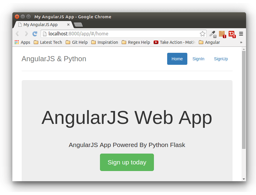Flask AngularJS App Powered By RESTful API - Home Page