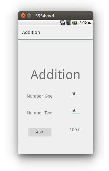 A Simple Android Application for Adding Two Number