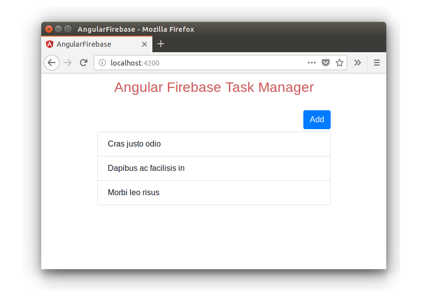 Angular Firebase App - List Screen