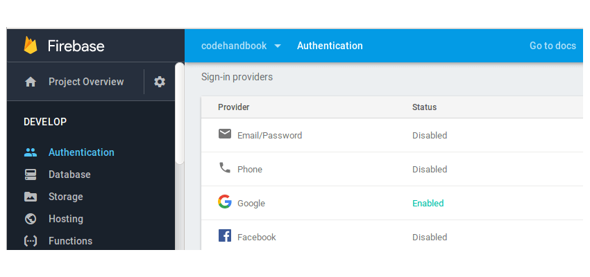 Firebase Enable Google Sign In