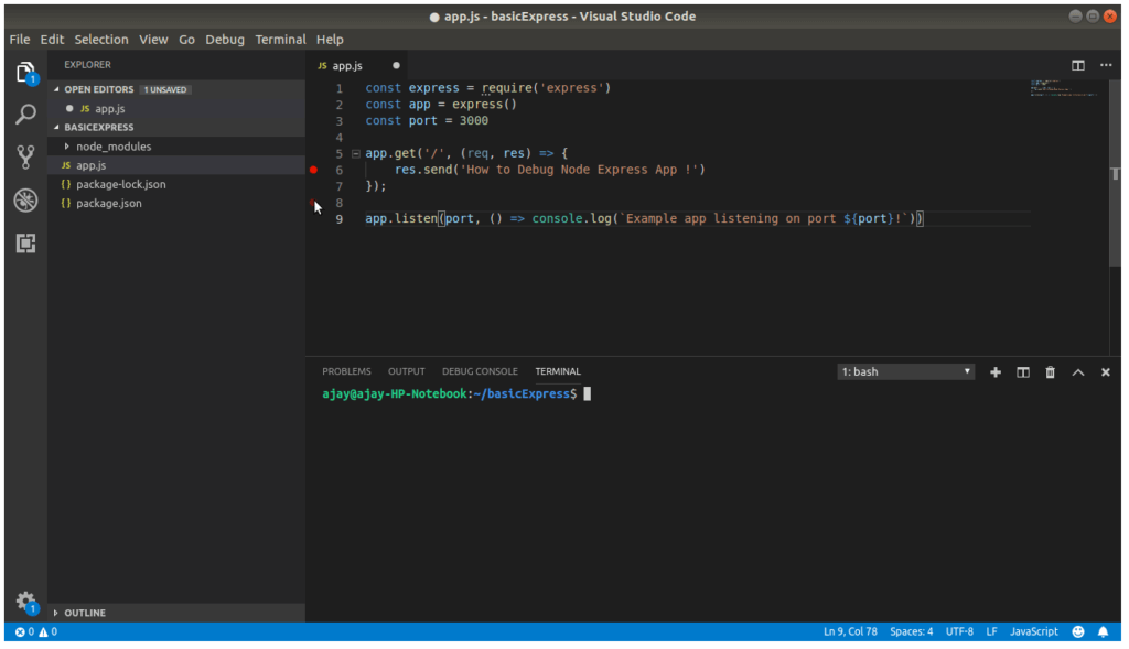 Add Breakpoint Visual Studio Code