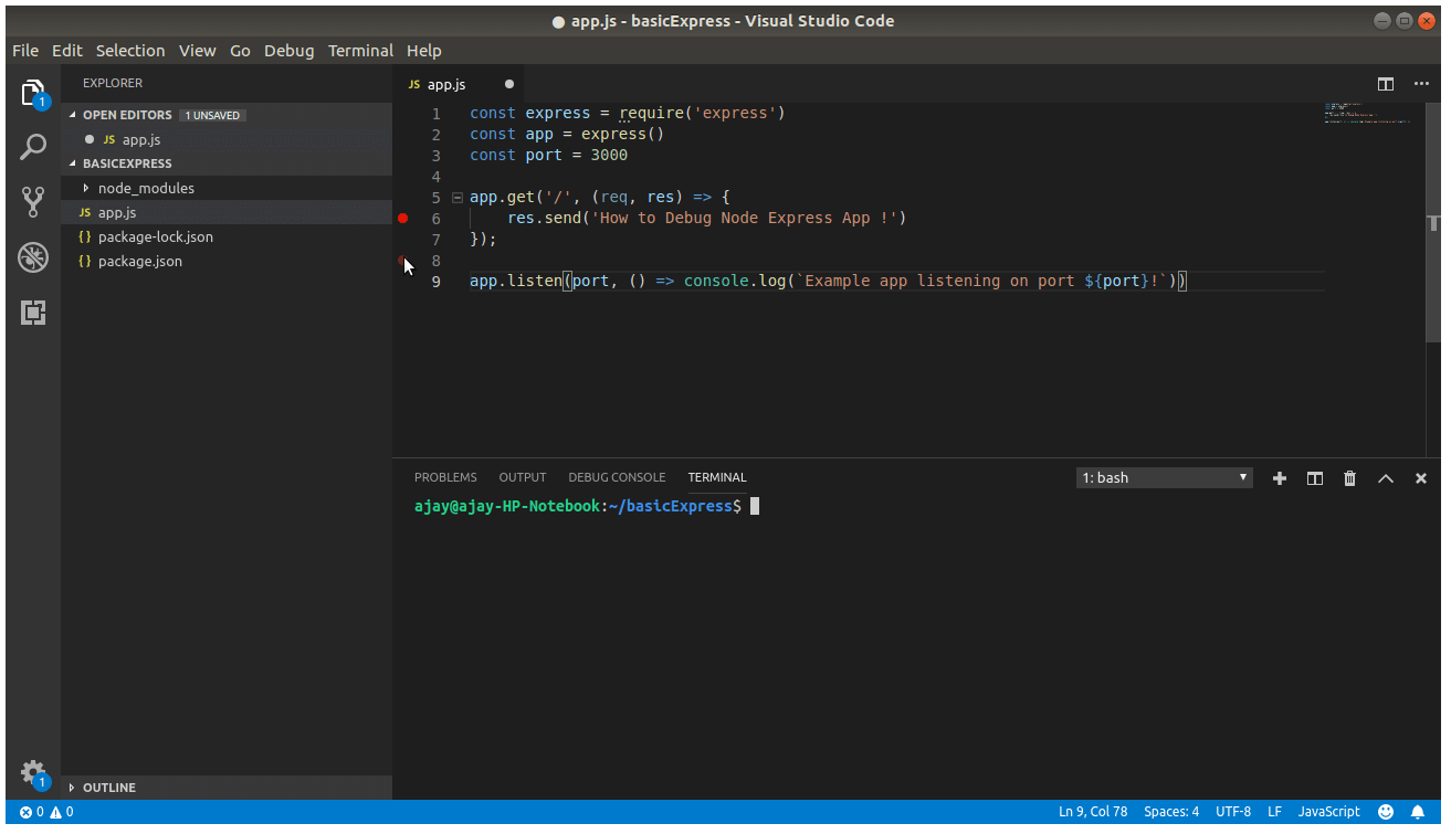 Debug Node Express Project From Visual Studio Code - Code