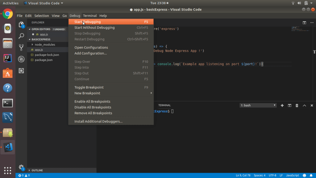 Debug Node Express Using Visual Studio Code